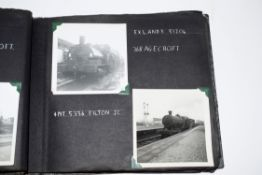 "Grey photo album24 x 20cm containing approx 80 mostly 3 x 3"" b/w railway-interest photos of 1960s BR"