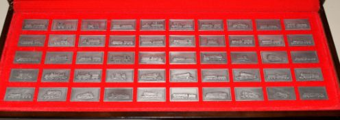"""""""Great British Locomotives"""" collection of fifty pewter ingots, featuring various locomotives from"""
