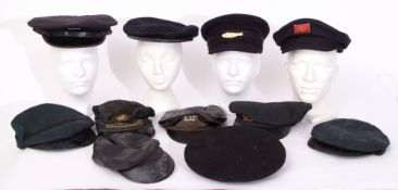 Rail Uniform: Box of 11 railway hats/caps of various types and variable condition.