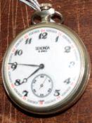 Railway-interest Sekonda fob watch with 4-8-2 loco on back.