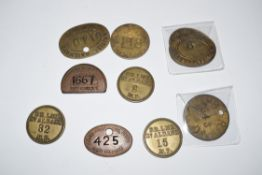 Collection of ten railway Paychecks: 2 x oval brass 'WMRE Locomotive Dept', 1 x brass 'Rly Exec