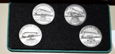 Set of 4 commemorative medallions, in green presentation case, struck for the 50th anniversary of