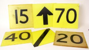 Railways Signalling Interest: Six 40cm square yellow perspex signs with black lettering: '15', '20',