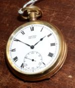 Railway-interest BR Swiss made fob watch by Vertex Revue with case by Dennison, inscribed inside'