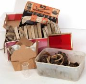 Railway Interest: Box containing a dozen rolls of lamp wick and various fittings suitable for lamp