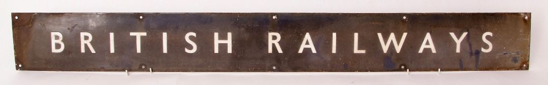 Railway Signage: BR(W) enamel 208 x 15cm 'BRITISH RAILWAYS'. Somewhat discoloured with loss of