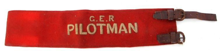 Rail Uniform: Two felt armbands: One 'GER PILOTMAN'. Grubby but good condition except for incomplete