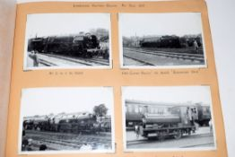 Brown photo album 34 x 24cm containing just over 200 labelled b/w and colour photos of British steam