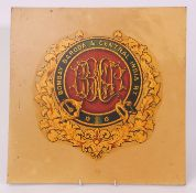 Railway Signage: Coat of arms transfer on board 40cm square. Bombay, Baroda and Central India