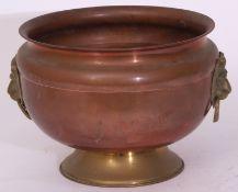 Circular copper and brass bowl 22cm high x 30cm dia, stamped 'GWR Bristol'