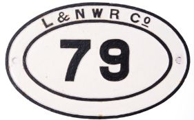Railway Signage: Oval LNWR Bridge Plate '79' 45 x 29cm restored face only some time ago.