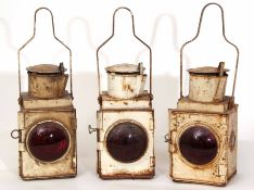 Railway Lamps: Three standard white BR stop/tail lamps 52cm high. Very dirty and rusty but all
