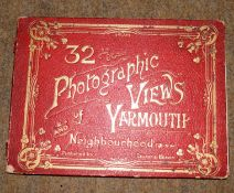 Undated late Victorian red album 23 x 18cm '32 photographic views of Yarmouth and Neighbourhood'