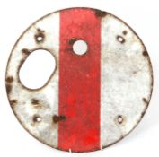 Railways Signalling Interest: Enamel ground signal disc plate only, 38cm dia, no spectacles. Ex