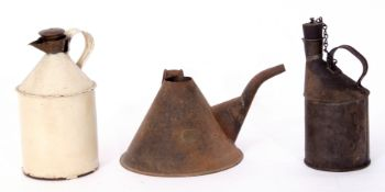 Railway Tools: Three small oil cans, one conical 18cm dia base, with no railway markings but brass