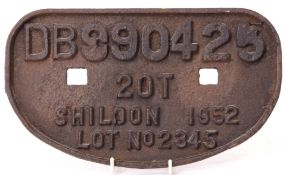 Railway Signage: BR wagon 'D' plate '20T Shildon 1952' unrestored.