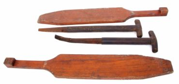 Railway Tools: Two 60 cm wooden shovel handles blackened through use but with no railway markings