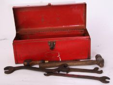 Railway Tools: Red toolbox containing 24 heavy tools from various companies. 3 x GER. 1 x M&GN. 1