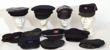 Rail Uniform: Another box of 11 railway hats/caps of various types and variable condition.