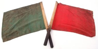 Railways Signalling Interest: Pair of guard's signal flags, one red one green. Very grimy from