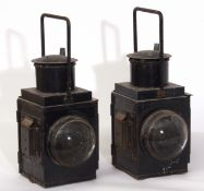 Railway Lamps: Pair of black BR 2-aspect lamps 46cm high, each with 2 x clear bullseye lenses.