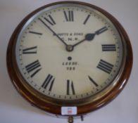 "Railway-interest GNR 12"" fusee clock 37cm overall diameter, Dial inscribed 'W.Potts & SonsGNRLeeds"