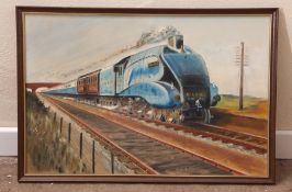 Framed railway-interest oil on board painting of A4 Pacific LNER 4468 'Mallard' in garter blue