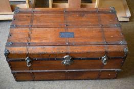Sturdy wooden trunk 82 x 48 x 38cm, nameplate 'S.P. Elliott' on top. No key.