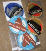 Six unused railway-interest Circular luggage labels in excellent condition 11.5cm dia: 1 x LNER 'The