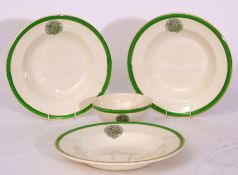 Green/white china 'The Railway Convalescent Home' comprising: 16 x shallow dish 26cm dia x 3cm