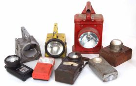 Railway Lamps: Two boxes of electric lights of several different types and very variable condition