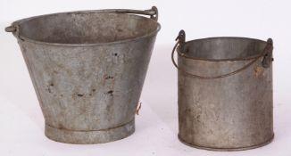 Railway Tools: Galvanised bucket together with cylindrical can 19cmhigh x 20cm dia, both stamped '