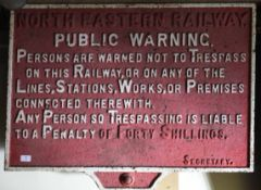 Railway Signage: NER cast iron Trespass Sign 91 x 61cm – Penalty of Forty shillings. Unrestored.