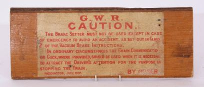 Railway Signage: Original GWR paper Notice, pasted onto wooden panel, 43 x 17cm and varnished