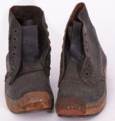 Rail Uniform: Pair of leather work boots, Size 8. Steel toecaps and wooden soles with metal