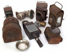 Railway Lamps: Eight assorted oil/acetylene lamps incomplete and/or damaged.