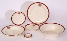 Red/white china 'The Railway Convalescent Home', a similar lot comprising: 25 x shallow dish 23cm