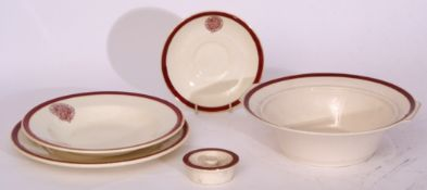 Red/white china 'The Railway Convalescent Home' comprising: 26 x shallow dish 23cm dia x 3cm