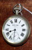 Railway-interest BR(W) 03677 Swiss made fob watch.