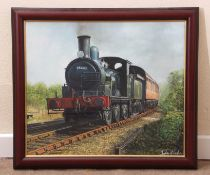 Framed oil on canvas railway-interest painting of ex-GER J15 0-6-0, now preserved on the NNR,