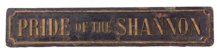 Railway Signage: Brass Nameplate 58 x 12cm 'PRIDE OF THE SHANNON'.