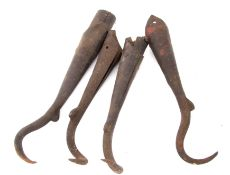 Railway Tools: Four metal hooks from shunting poles, two marked 'BR' and two with no railway