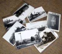 """Approx 45 loose 6""""x 4"""" b/w steam era railway-interest photos including 30 x M&GN many copyrighted by"""