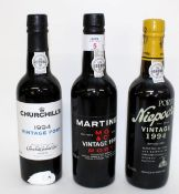 Three half bottles of Vintage Port, viz 1994 Martinez Vintage Port, 1994 Niepoort Vintage Port,