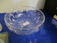 """Boxed Dartington Regency Celery Vase, t/w cut glass 8"""" Fruit Bowl, and other cut glass items"""