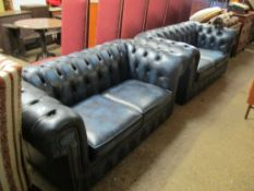 Pair of leather Chesterfield type Sofas, each approx 160cm width