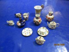 Pair of C19th miniature Royal Crown Derby Vases (one a/f) t/w various other small ceramics