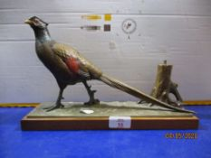 Cold painted cast Table Lighter, formed as a Pheasant, base length 31cm