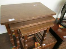 Nest of three teak-effect small Tables, width 48cm