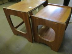 Small nested 1970s pair of teak Tables
